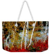 Autumn Birch Lake View Weekender Tote Bag