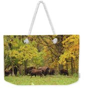 Autumn Bison Weekender Tote Bag