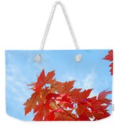 Autumn Landscape Fall Leaves Blue Sky White Clouds Baslee Weekender Tote Bag