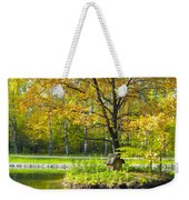 Autumn Landscape With Red Tree Weekender Tote Bag