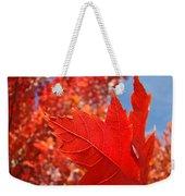 Autumn Leaves Fall Art Red Orange Leaves Blue Sky Baslee Troutman Weekender Tote Bag