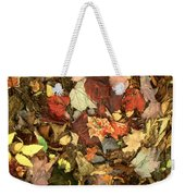 Colorful Autumn Leaves In Blue Green Red Yellow Orange Weekender Tote Bag