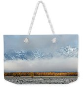 First Autumn Snow In The Mountains Weekender Tote Bag