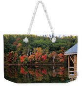 Autumn Reflections And Cabin On Baker Pond Weekender Tote Bag