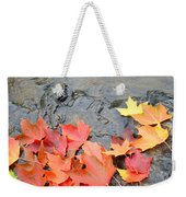 Autumn River Landscape Red Fall Leaves Weekender Tote Bag