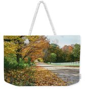 Autumn Road With Fence  Weekender Tote Bag