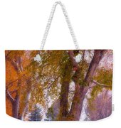 Autumn Snow Park Bench Peace Weekender Tote Bag