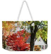 Autumn Street With Red Tree Weekender Tote Bag