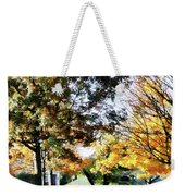 Autumn Street With Yellow House Weekender Tote Bag