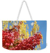 Autumn Trees Red Yellow Fall Tree Blue Sky Landsape Weekender Tote Bag