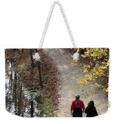 Autumn Walk On The C And O Canal Towpath With Oil Painting Effect Weekender Tote Bag