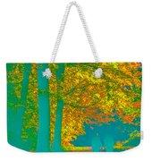 Autumn Woodland Walk Turquoise Weekender Tote Bag