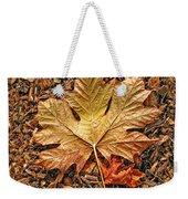 Autumn's Textured Maple Leaf Weekender Tote Bag