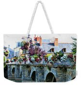 Azay-le-rideau, Loire Valley, France, Bridge With Flowers Weekender Tote Bag