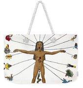 Aztec Zodiac Man, Medical Astrology Weekender Tote Bag