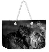 B And W Dog Weekender Tote Bag
