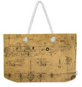B29 Superfortress Military Plane World War Two Schematic Patent Drawing On Worn Distressed Canvas Weekender Tote Bag