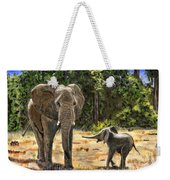 Baby And Mom Elephant Painting Weekender Tote Bag