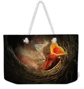 Baby Bird In The Nest With Mouth Open Weekender Tote Bag