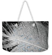 Baby Blue Dew Drops On Feather Weekender Tote Bag