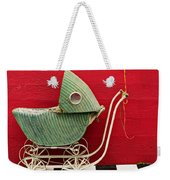 Baby Buggy With Red Wall Weekender Tote Bag
