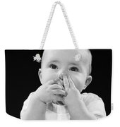 Baby Covering Mouth With Hands, C.1950s Weekender Tote Bag