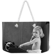 Baby Girl With Adding Machine, C.1940s Weekender Tote Bag