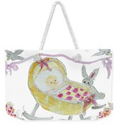 Baby Girl With Bunny And Birds Weekender Tote Bag