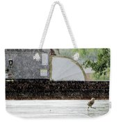 Baby Seagull Running In The Rain Weekender Tote Bag by Bob Orsillo