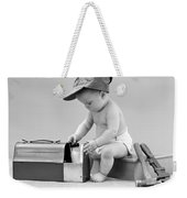 Baby With Work Tools And Lunch Pail Weekender Tote Bag