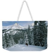 Backcountry Skiing Into An Evergreen Weekender Tote Bag
