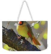 Backyard Bird Female Northern Cardinal Weekender Tote Bag