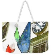 Balcony With Flags And Clock Weekender Tote Bag