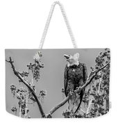Bald Eagle Warning In Black And White Weekender Tote Bag