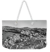 Bald Mountain Rock Formation In Black And White Weekender Tote Bag