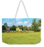 Baled Hay In A Grassy Field Weekender Tote Bag by Richard J Thompson
