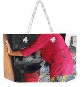 Balinese Lady Roasting Coffee Leans Again Wall Weekender Tote Bag