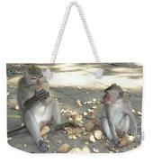 Balinese Monkeys Eating Weekender Tote Bag