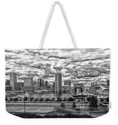 Baltimore Inner Harbor Dramatic Clouds Panorama In Black And White Weekender Tote Bag