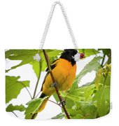 Baltimore Oriole With Raspberry  Weekender Tote Bag