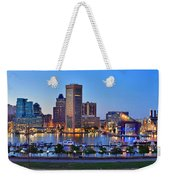Baltimore Skyline Inner Harbor Panorama At Dusk Weekender Tote Bag