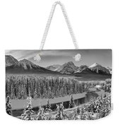 Banff Bow River Black And White Weekender Tote Bag