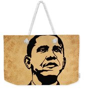 Barack Obama Original Coffee Painting Weekender Tote Bag by Georgeta  Blanaru