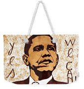 Barack Obama Words Of Wisdom Coffee Painting Weekender Tote Bag by Georgeta  Blanaru