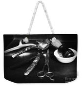 Barber - Things In A Barber Shop - Black And White Weekender Tote Bag