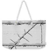 Barbwire Fence In Snow 1 Weekender Tote Bag