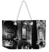 Barcelona Cathedral Interior Bw Weekender Tote Bag