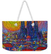 Barcelona Colorful Sunset Over Sagrada Familia Abstract City Knife Oil Painting Ana Maria Edulescu Weekender Tote Bag