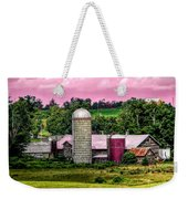 Barn And Silo With Infrared Touch Of Pink Effect Weekender Tote Bag