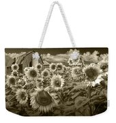 Barn And Sunflowers In Sepia Tone Weekender Tote Bag